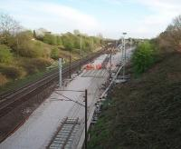 <I>Easter weekend possession</I>. Relaying of Farington Curve Junction has necessitated closure of the Ormskirk, East Lancs and West Coast lines for the holiday period. This view looks south over the junction from Bee Lane bridge. <br><br>[Mark Bartlett&nbsp;11/04/2009]