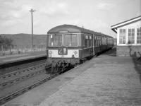 DMU at Muirkirk just before closure in October 1964 (the train from Lanark waiting to return there).<br><br>[Colin Miller&nbsp;01/10/1964]