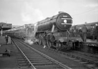 The BR Scottish Region <I>Last V2</I> excursion special of 5 November 1966 stands at Aberdeen prior to commencing its return journey to Edinburgh. Locomotive 60836 of Tay Bridge shed was finally withdrawn by BR the following month.[See image 24572]<br><br>[K A Gray&nbsp;05/11/1966]