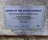 Plaque commemorating the opening of the <I>Queen of the South viaduct</I>, Dumfries, as a footpath/cycleway in July 2008.<br><br>[Brian Smith&nbsp;27/02/2009]