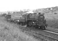 Standard 4 mogul no 76098 on a southbound light goods approaching Craigenhill Summit on Glasgow Fair Saturday 1966.<br><br>[Colin Miller&nbsp;/07/1966]