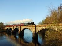 K4 61994 <I> The Great Marquess </I> crossing the viaduct over the River Conon with <I> The Great Britain II </I> early in the morning of Saturday 11 April 2009.<br><br>[John Gray&nbsp;11/04/2009]