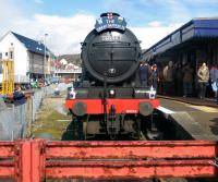 The <i>Great Marquess</i> on arrival at Kyle with the <i>Great Britain II</i> railtour.<br><br>[Hamish Baillie&nbsp;11/04/2009]