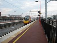 A Birmingham to Euston Pendolino arrives at Rugby.<br><br>[Michael Gibb&nbsp;16/04/2009]