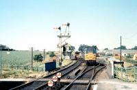 A Brush type 2 brings a goods train off the Reepham line past the signal box and into Wroxham station in July 1969. <br> <br><br>[Colin Miller&nbsp;/07/1969]