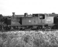 McIntosh 2P 0-4-4T no 55266 awaiting disposal in the sidings at Lugton on 13 April 1963, some 18 months after official withdrawal from Corkerhill shed. The locomotive was eventually cut up at Connels of Coatbridge the following September. <br><br>[David Pesterfield&nbsp;13/04/1963]