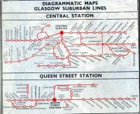 A section of the Glasgow suburban map from the BR (Scottish Region) timetable for the period 18 June to 9 September 1962, showing suburban destinations served from Central and Queen Street stations.<br> <br> <br><br>[Colin Miller&nbsp;18/06/1962]