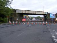 View from Dalmarnock Road looking east. Traffic cones have closed off the road on both sides of the soon to be dismantled bridge! The new EERR will follow the former route of the switchback line from here through to the M80 at Provan. <br> <br><br>[Colin Harkins&nbsp;27/04/2009]