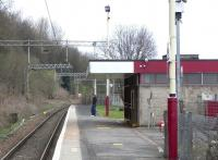 Looking north towards Balloch from the platform at Renton on 1 April 2009. The building is no longer in rail use, but occupied and fairly well maintained.<br><br>[David Panton&nbsp;01/04/2009]