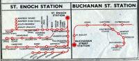 Section of the Glasgow suburban map from the BR (Scottish Region) timetable for the period 18 June to 9 September 1962 showing suburban destinations served from St Enoch and Buchanan Street stations.<br><br>[Colin Miller&nbsp;23/01/2012]