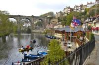 The Waterside at Knaresborough looking north west on 15 April 2009 with the railway viaduct over the River Nidd forming the backdrop. The line from Leeds and Harrogate comes in from the left with Knaresborough station off to the right just beyond the viaduct.  <br> <br><br>[Bill Roberton&nbsp;15/04/2009]