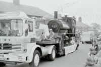 A special visitor to Leyland Festival in 1976 was L&YR <I>Pug</I> 51218, from the Worth Valley, in light steam on this lowloader. The Leyland tractor unit looks like a preserved lorry but was of course a brand new demonstrator vehicle from the nearby Leyland Trucks plant. Sister loco 11243 is presently (2009) a static exhibit at the nearby Ribble Steam Railway museum in Preston, [See image 23456] and 51218 is based at the Keighley and Worth Valley Railway. <br><br>[Mark Bartlett&nbsp;05/06/1976]