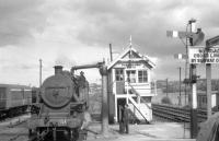 Scene at Portadown station in August 1965 as <I>Jeep</I> 2-6-4T no 51 takes water alongside the north box.<br><br>[K A Gray&nbsp;28/08/1965]