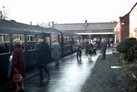 Passengers board the last train at Corstorphine on Saturday 30 December 1967, the final day of passenger services on the branch. The journey time to Waverley will be 11 minutes.<br> <br><br>[Bruce McCartney&nbsp;30/12/1967]