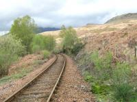 NBR West Highland Line across the A82 from The Falls of Falloch looking south.<br><br>[Alistair MacKenzie&nbsp;28/04/2009]