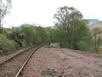 NBR West Highland Line across the A82 from The Falls of Falloch looking north.<br><br>[Alistair MacKenzie&nbsp;28/04/2009]