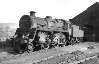 BR Standard class 4 2-6-0 no 76090 stands outside Beattock shed in 1965. The locomotive was withdrawn from here at the end of the following year and cut up at Shipbreaking Industries, Faslane in April 1967, age 9 years and 10 months.<br><br>[Robin Barbour collection (Courtesy Bruce McCartney)&nbsp;//1965]