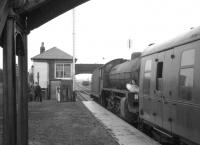 61342 makes a photostop at Bogside Race Course in April 1966 with <I>Scottish Rambler no 5</I>. The B1 was taking the special south from Ardrossan Montgomerie Pier to Girvan goods. [See image 30034]<br><br>[K A Gray&nbsp;10/04/1966]