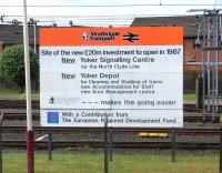 Sign of the times... 22 years on. Photographed on 2 May 2009, the <I>opening announcement</I> sign still standing alongside Yoker depot.<br> <br><br>[David Panton&nbsp;02/05/2009]