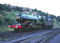 Preserved ex-GWR <I>Castle</I> class 4-6-0 no 4079 <I>Pendennis Castle</I> at Worcester in August 1965 preparing to take an Ian Allan railtour back to Paddington via Swindon.<br><br>[Robin Barbour Collection (Courtesy Bruce McCartney)&nbsp;08/08/1965]
