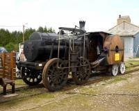 Replica of a French locomotive dating from 1829 on show at Noyelles on 25 April 2009. The fans on the side provide air to the fire. [They do work as it shuffled up and down the siding all day.] Named <i>Marc Seguin</i> after the designer. Not an idea persevered with!!<br> <br><br>[Peter Todd&nbsp;25/04/2009]
