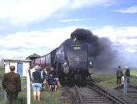 Privately owned A4 Pacific no 60009 <I>Union of South Africa</I> at the Lochty terminus in August 1972.<br><br>[Colin Miller&nbsp;/08/1972]