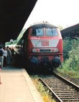 DB 218 284-8 arrives in Travemunde on Germany's Baltic coast in July 2005 with the 1655 train from Lubeck.<br> <br><br>[John Steven&nbsp;/07/2005]