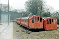 The tram shed at Beamish in 1979 with the 6 redunant ex-Glasgow Subway cars, obtained by the museum 2 years previously, standing alongside. [See image 23003]  <br><br>[Colin Miller&nbsp;//1979]