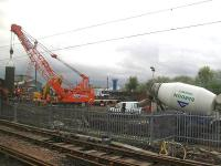 The former yard at the Salkeld Street Parcels Depot, now the scene of much activity as a place where concrete supports for the M74 extension scheme are in the process of being erected.<br><br>[Graham Morgan&nbsp;23/04/2009]