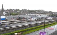 View over Stirling station on 5 May 2009 from the newly opened <I>Shooglybrig</I>.<br> <br><br>[David Panton&nbsp;05/05/2009]