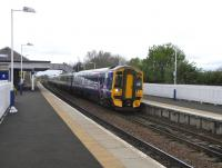 A 6-car 158 unusually employed on an off-peak service at Dalmeny on 4 May 2009.<br><br>[David Panton&nbsp;04/05/2009]
