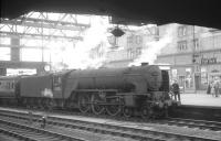 Peppercorn A2 no 60535 <I>Hornet's Beauty</I> brings the 7.00am from Glasgow Central into Carlisle in July 1964. The A2 had gone to Polmadie from St Margarets the previous year and continued in BR service until the Summer of 1965.  <br> <br><br>[K A Gray&nbsp;25/07/1964]