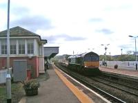 DRS Class 66 heads an intermodal freight north through Stonehaven.<br><br>[John Robin&nbsp;13/05/2009]
