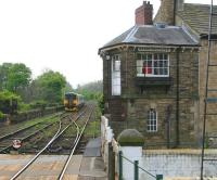 The 1259 arrival from Leeds, having terminated at Knaresborough on the afternoon of 24 April, now stands on the viaduct awaiting clearance to run back past Knaresborough's unique signal box and into the up platform where it will form the next service to Leeds. [See image 23425]  <br><br>[John Furnevel&nbsp;24/04/2009]