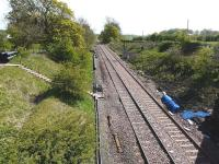 View from bridge 72 looking south towards Dunlop on 13 May 2009, showing ongoing work in progress, with cable gulleys now in place.<br><br>[Ken Browne&nbsp;13/05/2009]
