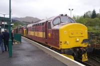 Photograph taken at Crianlarich on 9 May 2009 during a short break on the SRPS Mallaig Railtour. Locomotives used on the special were EWS liveried 37670 <i>St Blazey</i> and 37401.<br> <br><br>[Norman Bews&nbsp;09/05/2009]