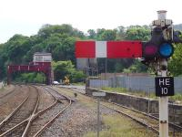 View west from the footbridge at Hexham station on 17 May 2009 with signal box in background.<br><br>[John Steven&nbsp;17/05/2009]
