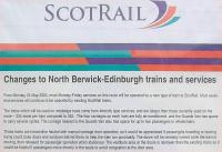 ScotRail notice at Drem announcing the imminent arrival of <i>Loco Hauled</i> services on the North Berwick line. C. Sept. 2004<br><br>[James Young&nbsp;/09/2004]