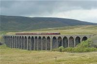 5690 'Leander' crosses Ribblehead viaduct with the southbound <I>Settle - Carlisle Express</I> railtour on 17 May 2009. The tour was running over 20 minutes ahead of schedule as it coasted over the viaduct.<br><br>[John McIntyre&nbsp;17/05/2009]