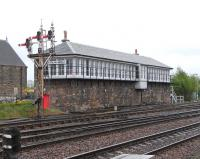 Still a fine sight, despite a dwindling number of working leavers. Stirling Middle Junction signal box, photographed looking south on 5 May 2009.<br><br>[David Panton&nbsp;05/05/2009]