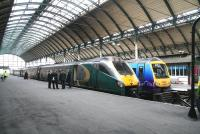 A Hull Trains class 222 for Kings Cross stands alongside a TransPennine service for Manchester Piccadilly at Hull on 23 April 2009.<br><br>[John Furnevel&nbsp;23/04/2009]