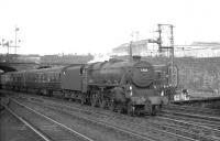 Black 5 no 45084 of Stirling South shed brings a train into Buchanan Street station in the summer of 1965.<br><br>[K A Gray&nbsp;23/08/1965]