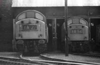 A pair of EE Type 4 (Class 40) locomotives rest between duties just outside Ferryhill MPD in 1974.<br><br>[John McIntyre&nbsp;//1974]