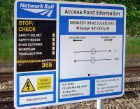 Network Rail standard Health & Safety information board erected at the Kennedy Drive access point in Coatdyke. May 2009.<br><br>[John Steven&nbsp;20/05/2009]