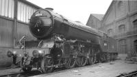 Gleaming Gresley V2 2-6-2 no 60974 stands in the yard outside Darlington works, thought to be in June 1961. The locomotive was eventually withdrawn from York shed at the end of 1963 and brought back here for cutting up in the works scrapyard.<br><br>[K A Gray&nbsp;/06/1961]