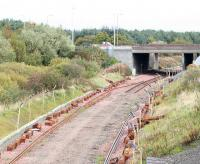The old single line stops at the site of Bangour Junction in October 2008, just prior to redoubling here.<br><br>[James Young&nbsp;12/10/2008]