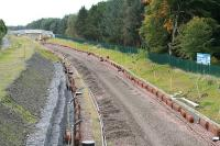<i>No trains today then?</i> Part of the line near Bangour Jct awaits relaying as redoubling nears completion in October 2008.<br><br>[James Young&nbsp;12/10/2008]
