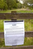 Notice advising of compulsory purchase orders, published by the Waverley Railway Project, affixed to a fence alongside the trackbed at Fountainhall on 25 May 2009.<br> <br><br>[Bill Roberton&nbsp;25/05/2009]