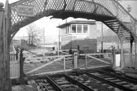 View north over the level crossing at Fountainhall in 1965.<br> <br><br>[Robin Barbour Collection (Courtesy Bruce McCartney)&nbsp;//]
