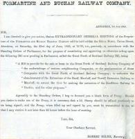 Invitation to the proprietors of the Formartine and Buchan Railway to attend an Extraordinary General Meeting of the company, held at the Royal Hotel, Union Street,  Aberdeen, on 7 June 1866.<br> <br><br>[Ian Dinmore&nbsp;11/05/2015]